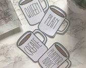 Jumbo Glittery Mug Die Cut  -  Ephemera, Card stock pieces, Scrapbooking, Junk journal, Planner, Erin Condren, Happy Planner, TN