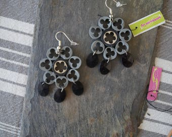 Grey cable earrings