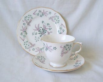 Colclough China Pink Floral Trio Footed Teacup, Saucer, Plate c.1960