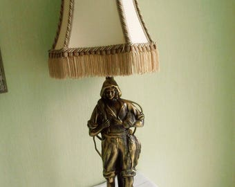 Vintage table lamp traditional fisherman figure in brass alloy ,