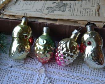 4 Christmas ornaments, Glass Parrots, Vintage Christmas ornaments, Soviet glass ornaments, Feather tree ornaments,  Antique ornaments