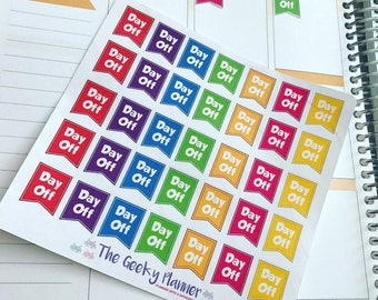 35 rainbow day off Work shifts schedule planning stickers tracking great for all planners  happy planner filofax recollections bujo tn