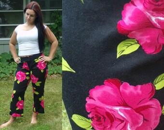 Vintage Pink & Black Floral Pants, Summer Pants, Floral Pants, Flowered Pants, Hot Pink Flowers, Preppy Pants, Size 12 Pants, Summer, Spting