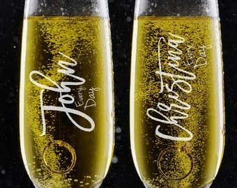 Set of 2, Personalized Wedding Toast Champagne Flutes - Couple Names Champagne Glasses - Engraved Flutes - DSG #2