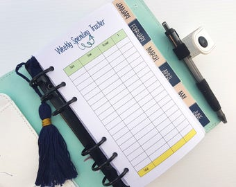 Personal Size Weekly Spending Tracker Printed Planner Inserts  | finance planner insert | budget planner | printed personal size planner