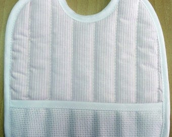 Bib with embroidered pink stripes