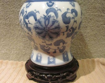 Chinese  Qianlong Nian Zhi Style GingerJar Blue White Hand Painted Details  Vtg Blue Markings Great Collectible