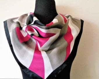 Vintage Scarf, Abstract Scarf, Purple Grey White Scarf, Striped Scarf, Small Scarf, Gift for Mom, Gift for Friend, Abstract Scarf