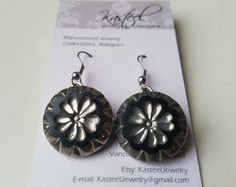 Silver and black button earrings