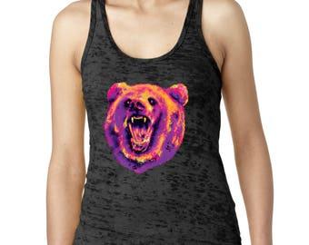 PREMIUM Cute Bear Republic Burnout Tank Top Neon Bear Head Women's burnout California Bear Nation Tank Tops