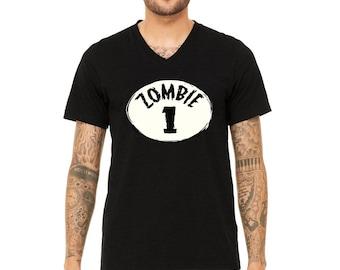 MEN PREMIUM Vneck Halloween Zombie #1 Group Men V-Neck T-shirt Funny Halloween Shirts