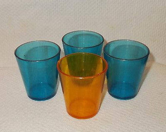 Set Of 4 Vintage 60s Childrens Blue Orange Hard Plastic Glass Malt Shake Doll Toy Play Set