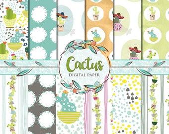 26 Cactus Digital Papers, Cacti Paper Pack, Summer Paper, Cactus Patterns, Dessert Seamless Patterns, Summer Scrapbook, Teal Cacti Clip Art