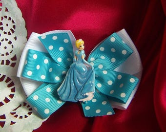 "NEW Girls Hair Bow 4"" Wide Princess Blue Cinderella   Alligator Clip Only"