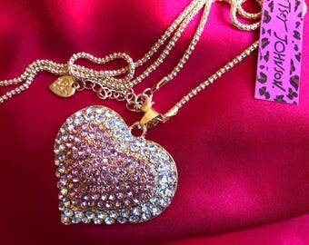 Crystal PINK Rhinestones Heart Pendant Sweater Chain Necklace With Gold Gift Box