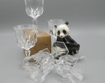 Vintage crystal glasses set, wine crystal glasses, glasses set 5 pieces, vintage tableware, french cristal glassware