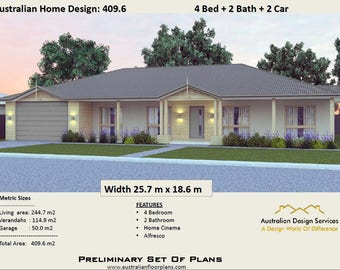 Acreage Design 409.6 m2  | 4 Bed + 2 Bath + 2 Car House Plans For Sale  |