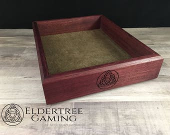 Premium Dice Tray - Table Top Sized - Purple Heart with Felt or Leather Rolling Surface - Eldertree Gaming
