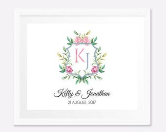 Personalized engagement gifts,  Anniversary gifts for couples, Monogram Print, Monogram wedding gift, Digital File,Watercolor monogram crest