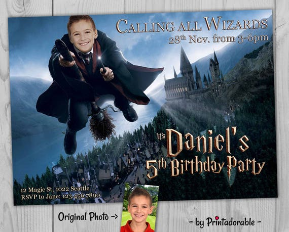 Digital Harry Potter Invitation - Harry Potter Party Set, with Invitation, Favor Tag, Address Label and Water Bottle Label - Customizable