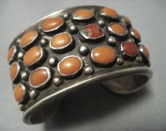 Huge Vintage Navajo Domed Coral Sterling Silver Bracelet Old Pawn