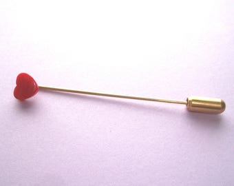 "Vintage Red Lucite Heart Stick Pin,5/16"" wide,2 1/2"" long,small hearts,gold tone metal,pin"
