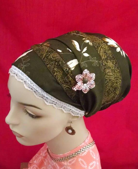 Smart and feminine floral sinar tichel, tichels, head scarves, chemo scarves, head wraps, mitpachat