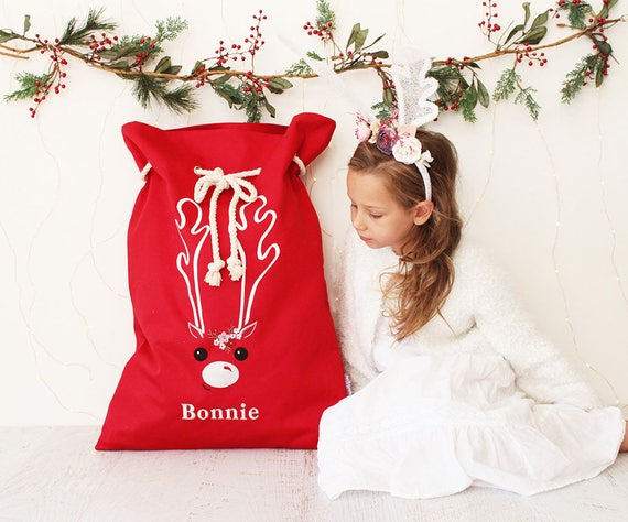 Personalised Santa Sack Red - Reindeer face & Flowers