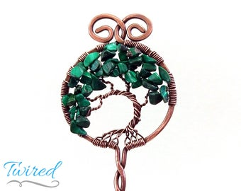 "Malachite and Antiqued Copper Tree of Life Hair Stick (6"" Stem)"