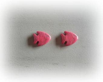 2 beads 27 * 24 mm pink howlite fish