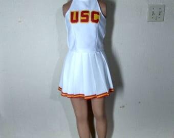 USC Top & Skirt White Cheerleader Uniform Football Game Halloween Costume