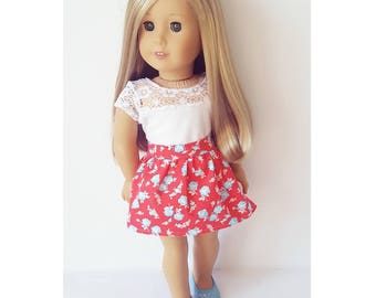 18 inch doll clothes floral red skirt