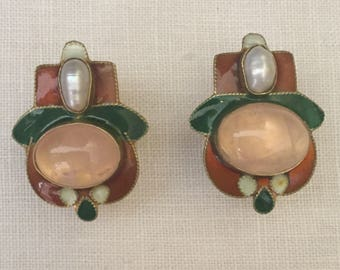 Pearl and Rose Quartz Enamel Clip Earrings