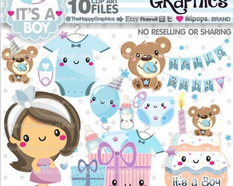 80%OFF - Baby Clipart, Baby Graphics, Commercial Use, Baby Party, Baby Shower Clipart, Baby Boy Clipart, Reveal Party, Welcome Baby, Cute