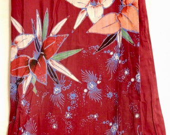Indonesian batik sarong--lightweight cotton in red and orange