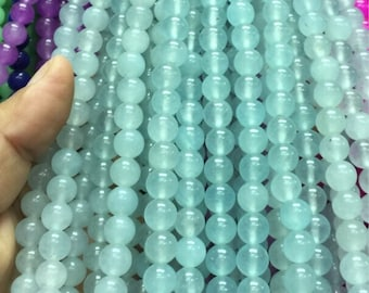 8mm Celestine Gemstone Beads - 14inch Full strand - Round Gemstone Beads