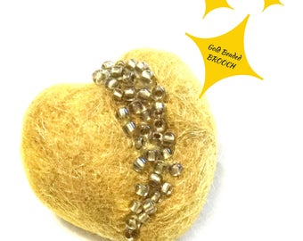 Gold Valentine brooch, Gold beaded brooch, Lapel pin, Gold heart brooch, Jacket pin, Felt heart brooch, Needle felted brooch, Valentine Gift