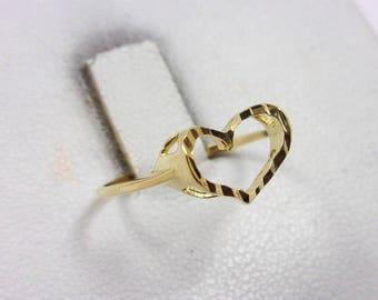 Solid 14K Yellow Gold Diamond Cut Heart Ring, Size 5.75, 1 gram