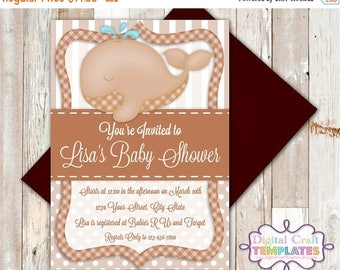 SALE Personalized Printable Invitations   Brown Whale   Baby Shower   Birth Announcement    #315