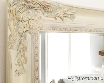Cream Ornate Wall Mirror, French Country Bathroom Mirror, Leaning Mantle  Mirror, Vanity Mirror