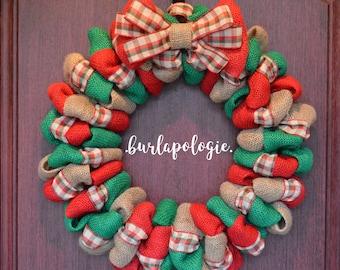 Christmas Plaid Burlap Wreath, Holiday Burlap Wreath, Merry Christmas Wreath, Multi-Colored Wreath, Festive Wreath, Choose your size!