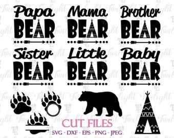 Papa Bear SVG Cut Files, Mama Bear SVG Cut Files, Brother Bear Svg Cut File, Sister Bear Svg Cut File, Baby Bear Svg Cut File, Claw SVG 0072