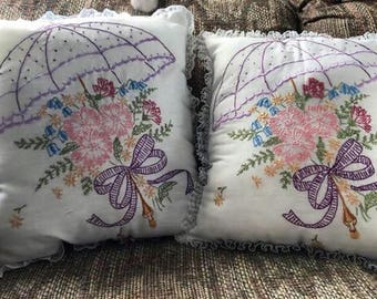Embroidered Pillow - Decorative Pillow - Accent Pillow - Embroidered Cushion - Bedroom Decor - Easter Pillow - Easter Cushion - Mother's Day