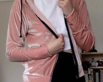 Velvet velvet hooded sweatshirt oversize Rosé boohoo