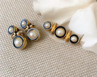 Richelieu Vintage 80's Faux Mabe Pearl, Enamel Jewelry Set, Brooch with Earrings