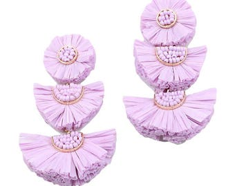 Lavender 3-Tier Fringe Statement Earrings