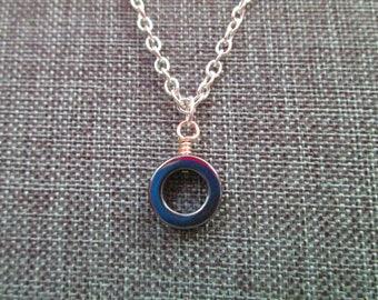Hematite Circle Pendant . Necklace