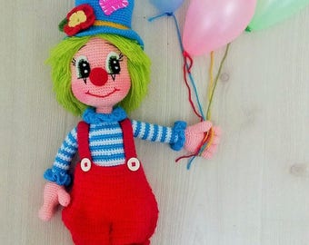 Cute Mr.Clown 2-Amigurumi Crochet Pattern-PDF