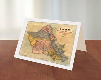 Greeting card of Map of Oahu, Hawaiian islands, 1899.  Reproduction map greeting card.