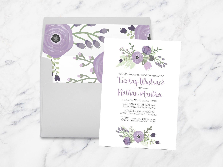 Purple And Gray Wedding Invitations - Lavender Floral Wedding ...